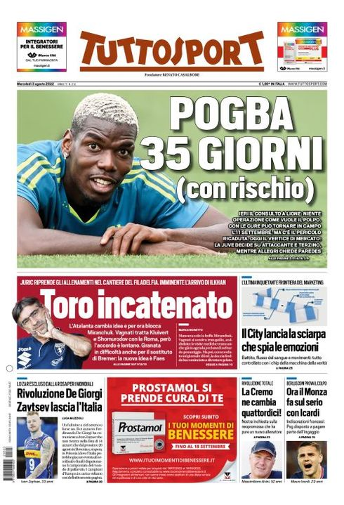 prima pagina m Man United target Paul Pogba is untouchable as Juve linked to €12m Chicharito & Chelseas Lukaku [Tuttosport]